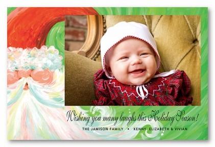 Swirly Santa Personalized Holiday Photo Cards
