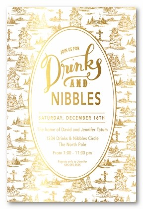 Gold Toile Oval Personalized Holiday Invitations