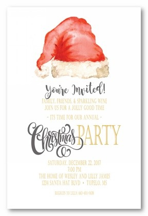 Santa's V Hat Personalized Holiday Invitations
