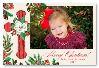 Magnolia Cross Personalized Holiday Photo Cards