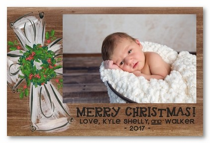 Rustic Cross Personazlied Holiday Photo Cards