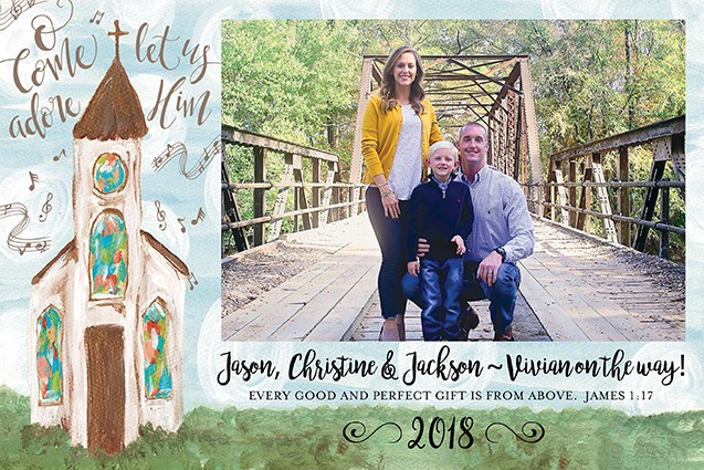 Christmas Chapel Personalized Holiday Photo Cards