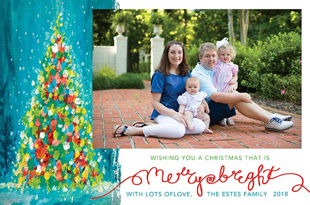 Merry and Bright Christmas Tree Holiday Photo Cards