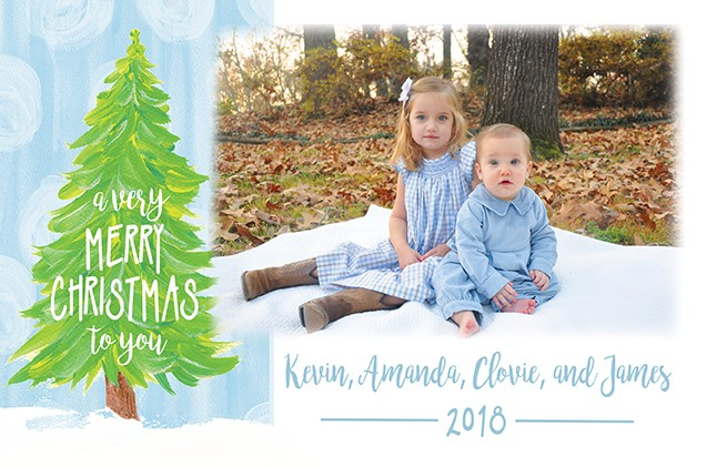 Verry Merry Blue Tree Christmas Holiday Photo Cards