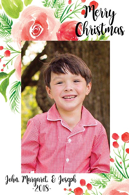 Berry Merry Vertical Christmas Holiday Photo Cards