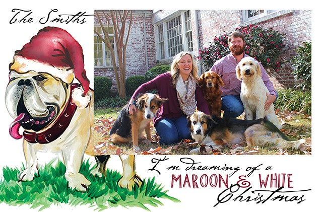 Maroon and White Christmas Holiday Photo Cards