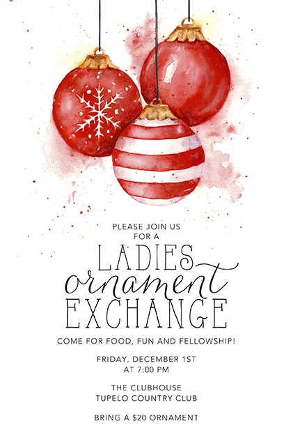 Red Ornaments Vertical Holiday Invitations