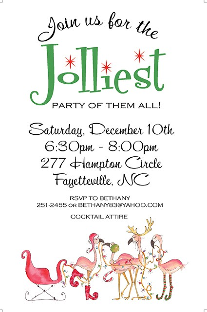 Flamingo Festivities Holiday Invitations