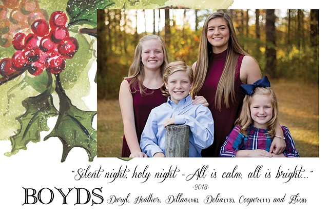 Holly and Berries Corner Holiday Photo Cards