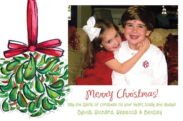 Mistleoe Ball Holiday Photo Cards