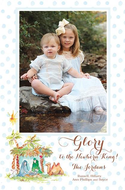 Newborn King Boy Holiday Photo Cards