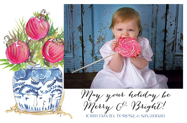 Ginger Jar with Balls Holiday Photo Cards
