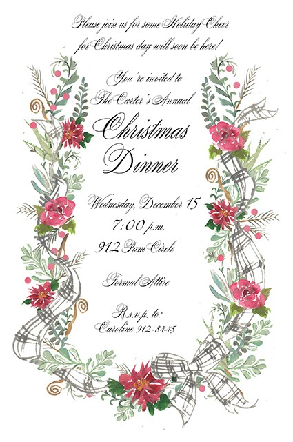 Harp Shape Floral Holiday Invitations