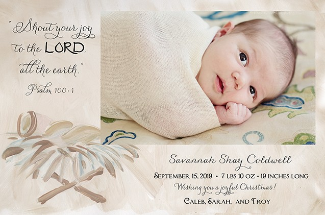 Baby in a Manger Holiday Photo Cards