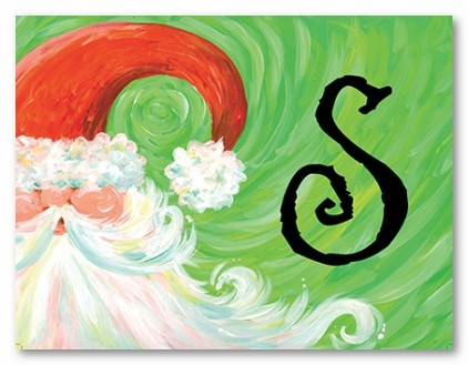 Swirly Santa Personalized Folded Note