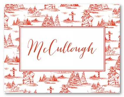 Red Toile Square Personalized Folded Note