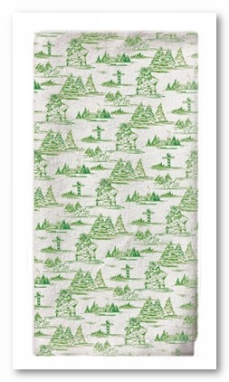 Green Toile Tea Towel