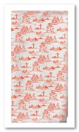 Red Toile Tea Towel