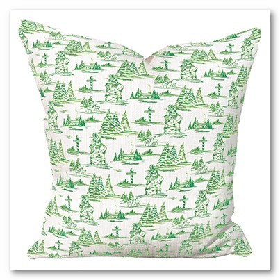 Green Toile Pillow